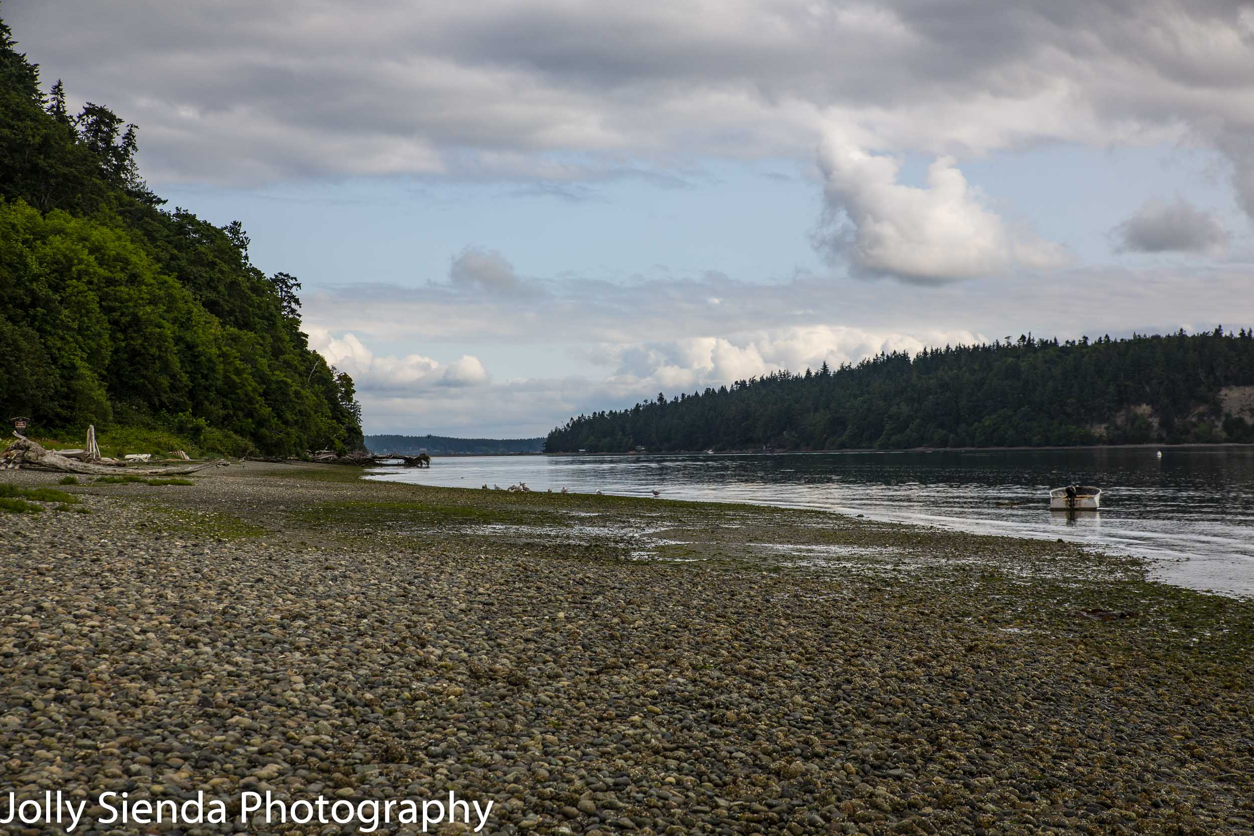 Peaceful coastal pebble beach at Shine Tidelands State Park, Olympic Peninsula