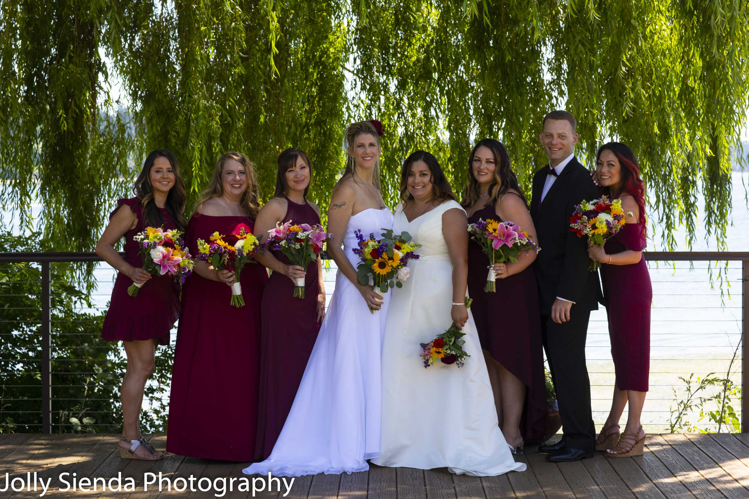 Nicole and Michelle with their wedding party