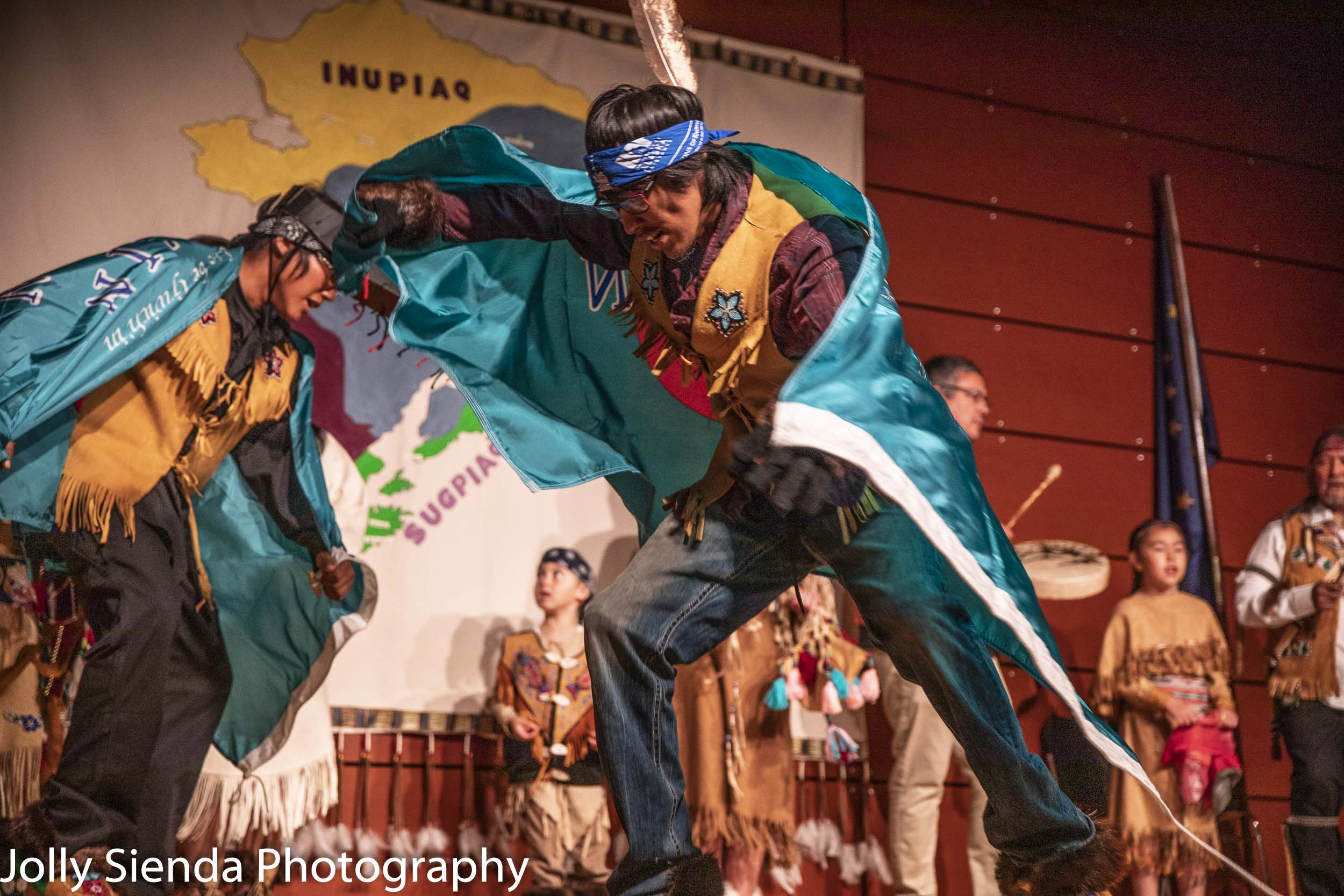 Celebrating Athabascan Alaskan native culture, the Raven brothers dancers, Fairbanks, Alaska