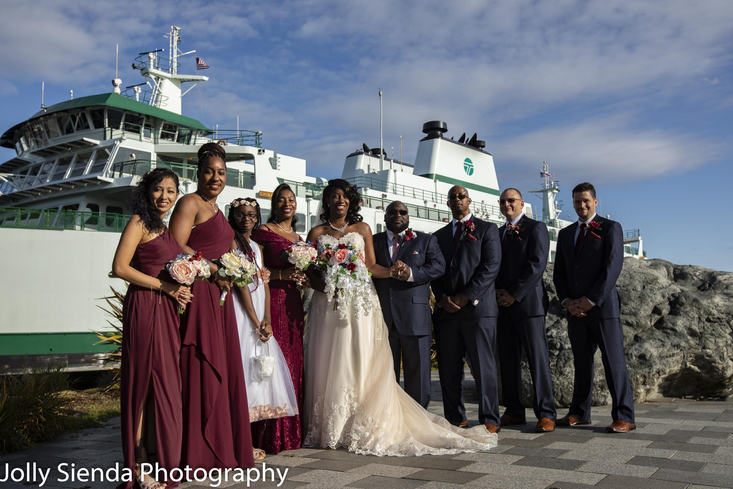 Marina and Malcolm with their wedding party at Harborside Fountain Park and the Bremerton Ferry.