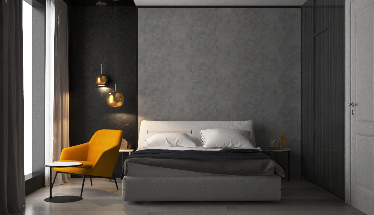 Grey, white, black and cooper is a prefect match for a stylish bedroom