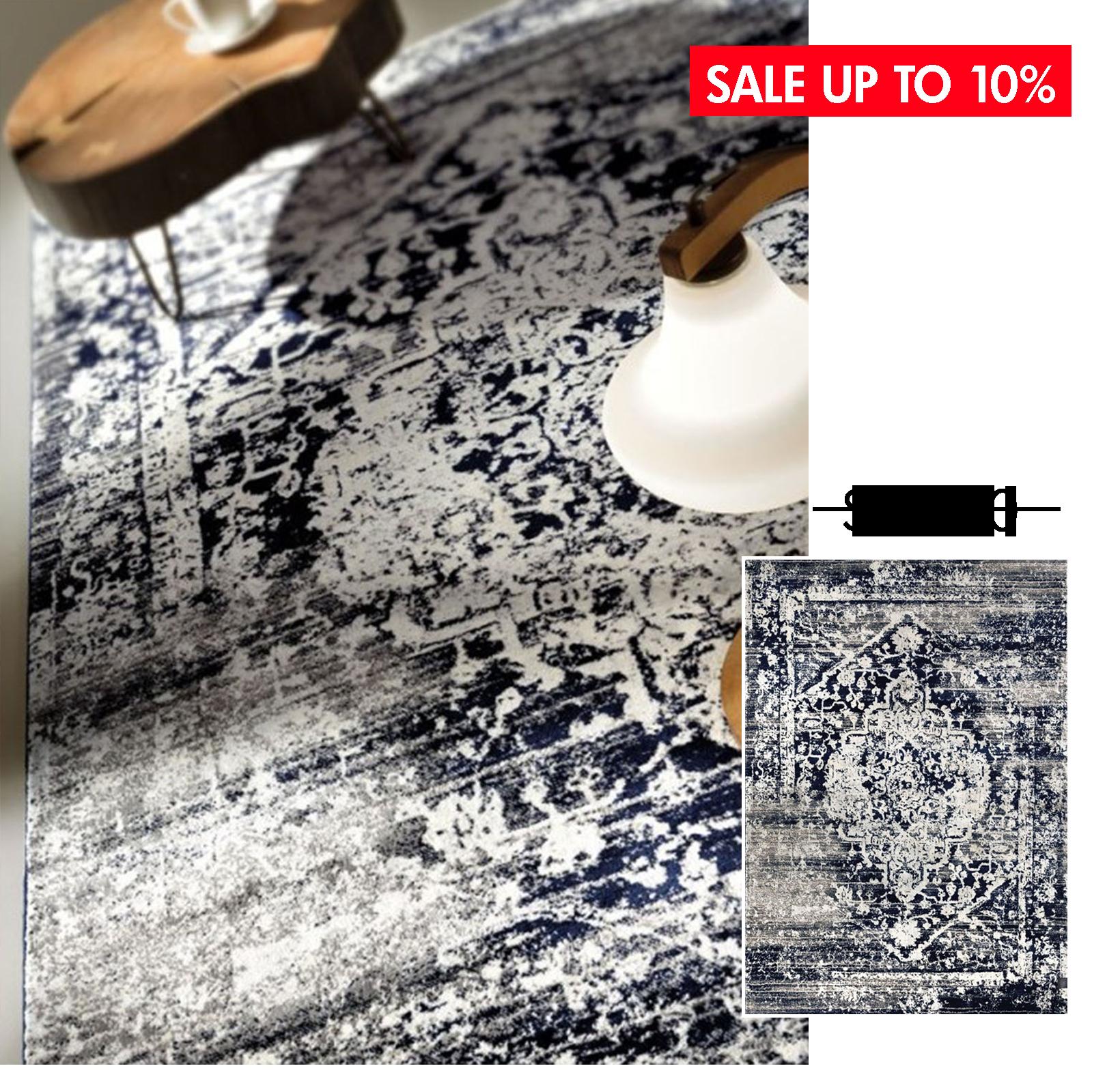 TABRIZ BLUE BLACK - ● 190x290 cm● 50 % sợi Polypropylane / 50% sợi Polyester● $ 615.0
