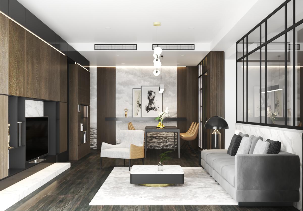 CĂN HỘ SAI GON ROYAL - INTERIOR DESIGN A10-05 - 3PN- 110M2 - Ý tưởng :Thiết kế sang trọng với gam màu gỗ ấm kết hợp với các mảng nhấn vân đá trắng sáng và tranh dán tường trắng đen của Ý. Xu hướng thiết kế hiện đại nhưng vẫn rất tinh tế và không nhàm chán.