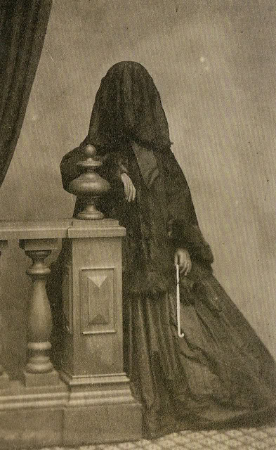 No idea where this pic is from. 1880s Victorian mourning period.