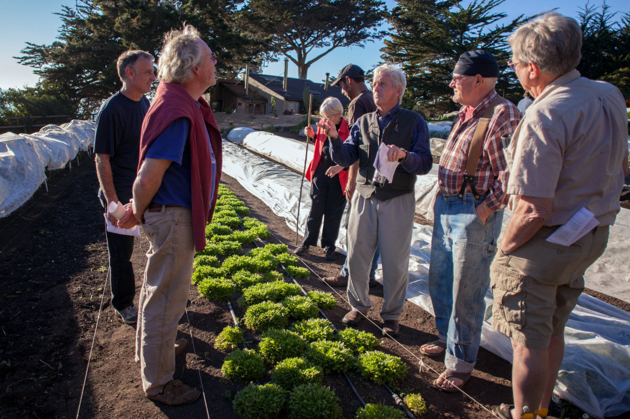 January 29, 2014     The Elders of Organic Farming  in The New York Times   (Click on the photo to read the full article).   BIG SUR, Calif. — Among the sleek guests who meditate and do Downward Facing Dog here at the Esalen Institute, the farmers appeared to be out of place. They wore baggy jeans, suspenders and work boots and had long ago let their hair go gray.   For nearly a week, two dozen organic farmers from the United States and Canada shared decades' worth of stories, secrets and anxieties, and during breaks they shared the clothing-optional baths.   The agrarian elders, as they were called, were invited to Esalen because the organizers of the event wanted to document what these rock stars of the sustainable food movement knew and to discuss an overriding concern: How will they be able to retire and how will they pass their knowledge to the next generation?   Photo credit: Peter DaSilva for The New York Times