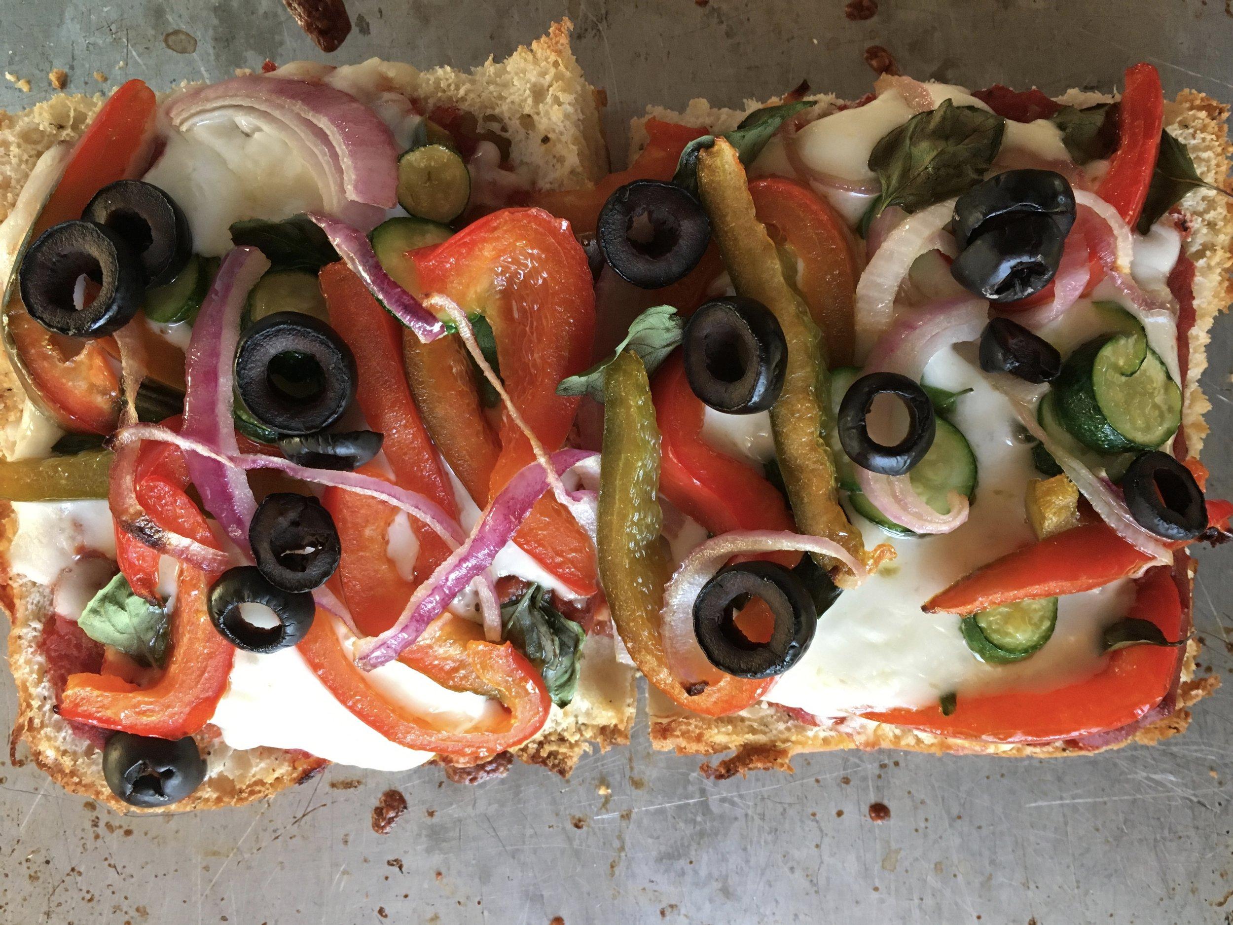 Garden veggies for a focaccia pizza.