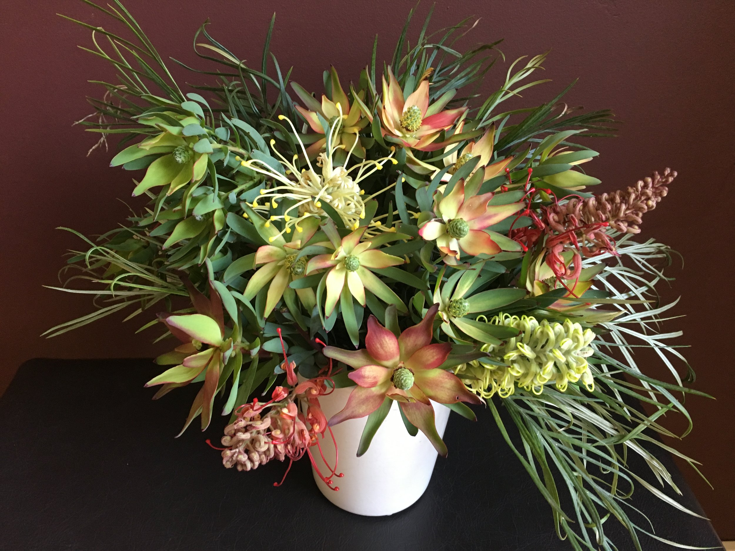 And the Sunday bouquet for church: 'Robyn Gordon' grevillea, 'Moonlight' grevillea and 'Blush' leucadendron.