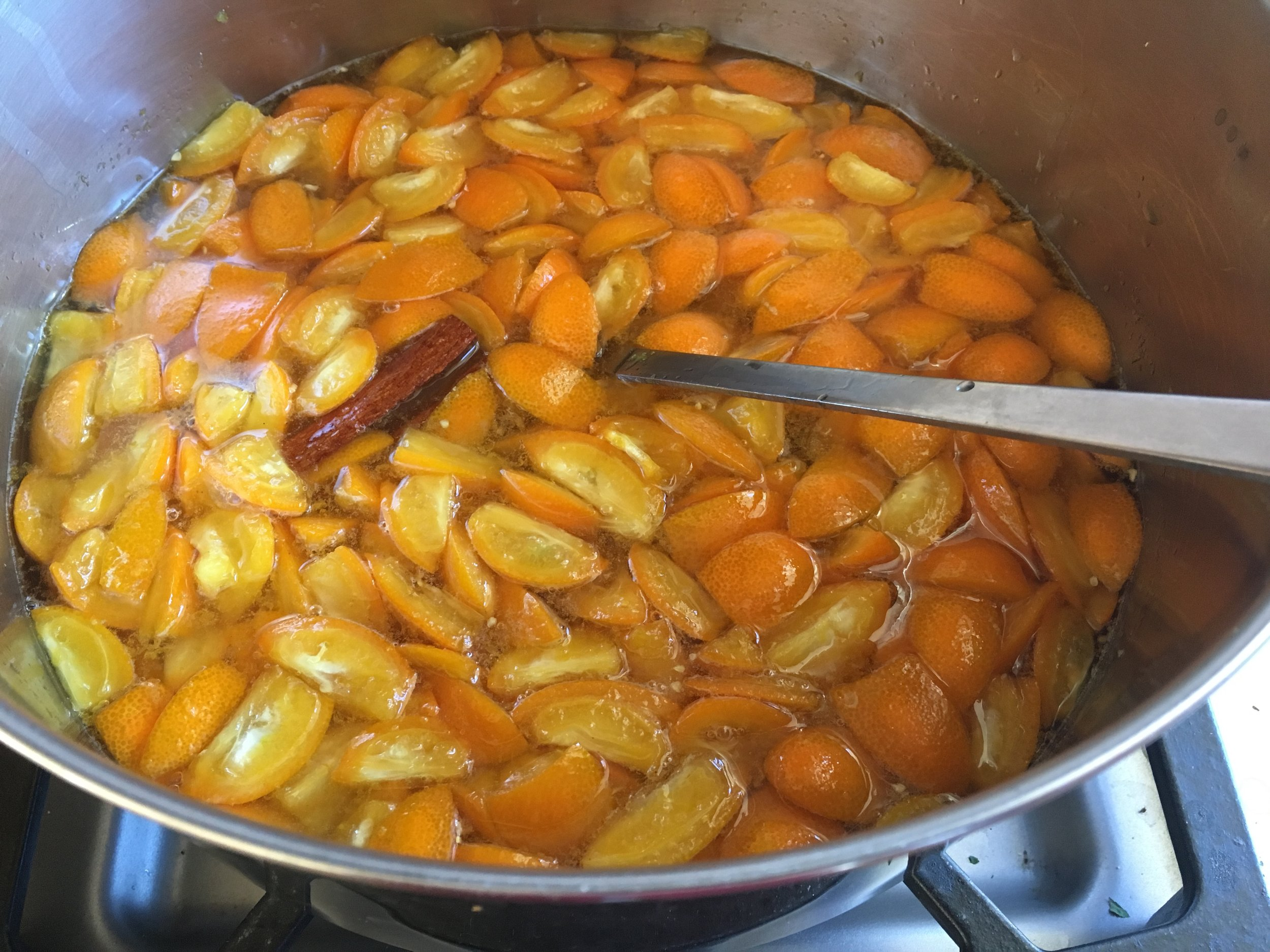 The recipe calls for kumquats, lemon zest and juice, star anise and a pinch of cayenne. I substituted half a cinnamon stick for the star anise.