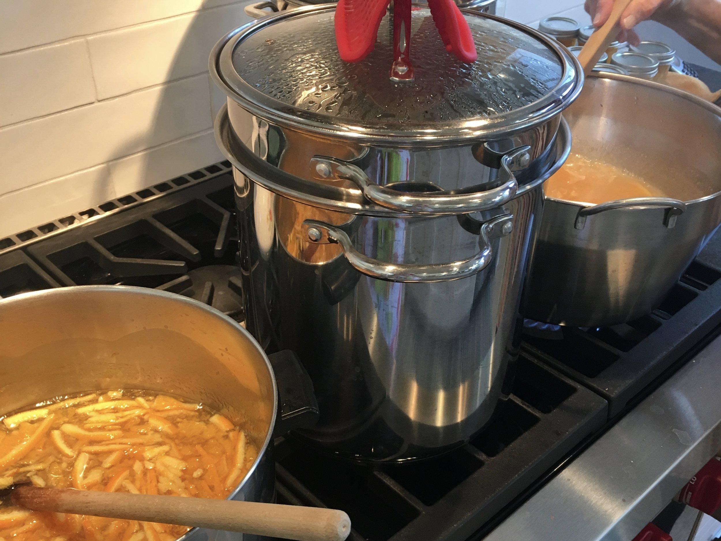 Orange marmalade in process.