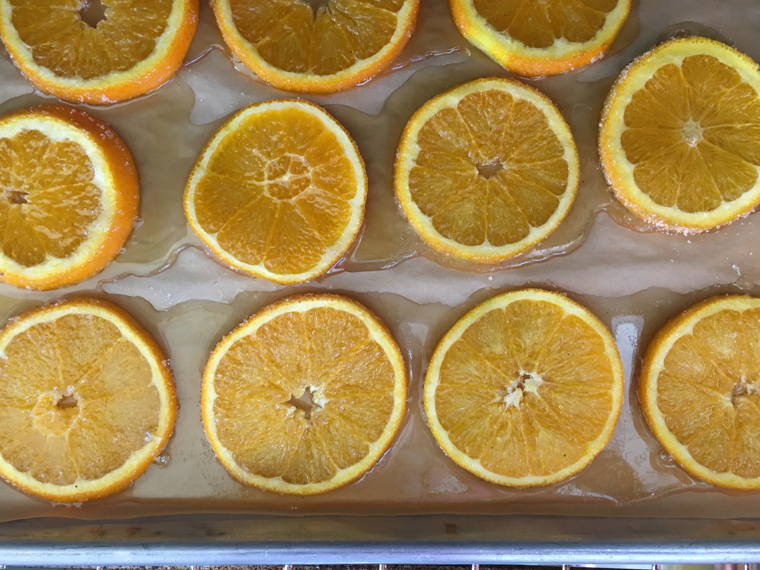 I forgot to take a photo before putting the orange slices in the oven so the orange syrup had formed.