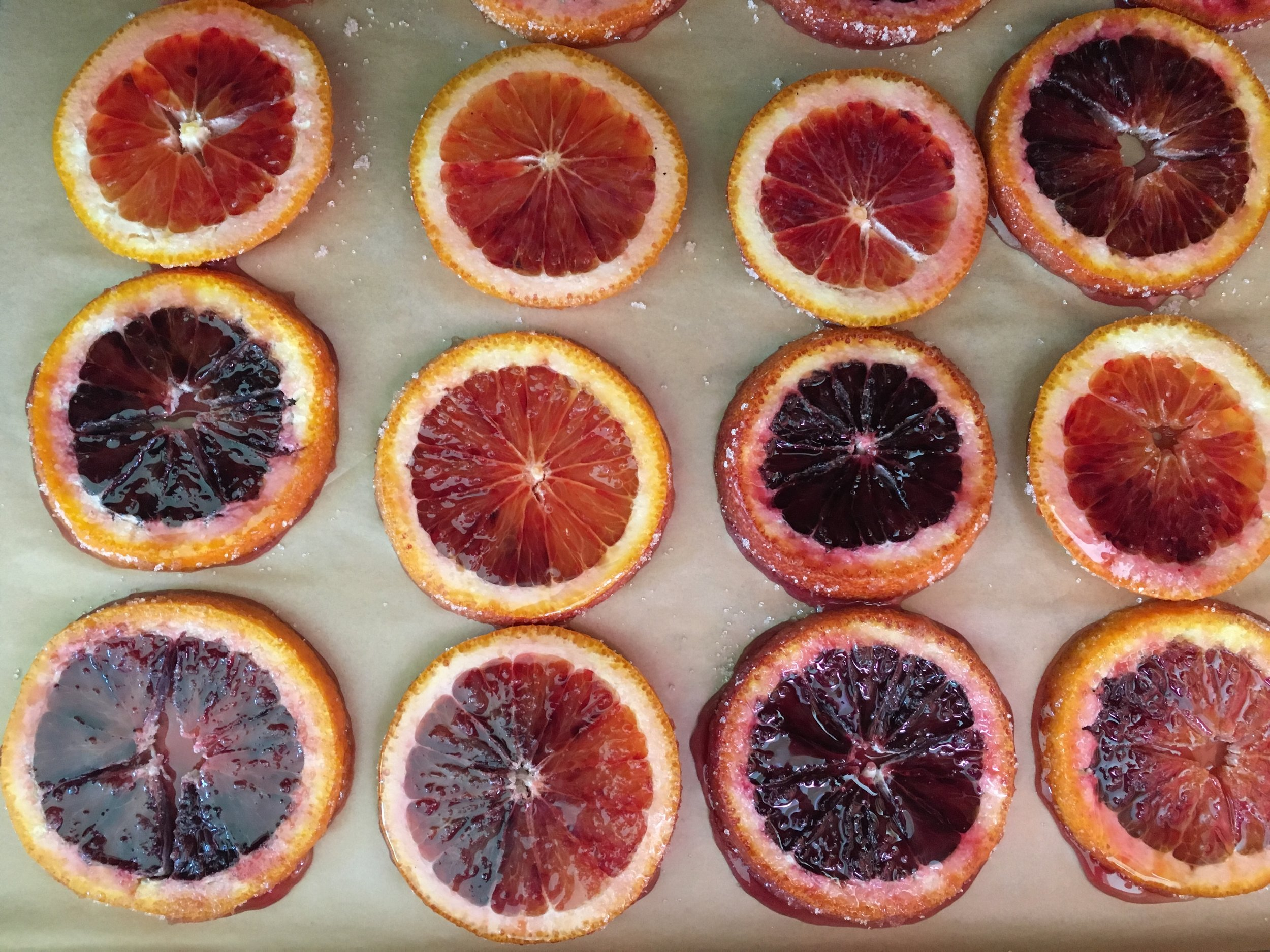I also bought some blood oranges to dry. A gorgeous color and flowery flavor notes.
