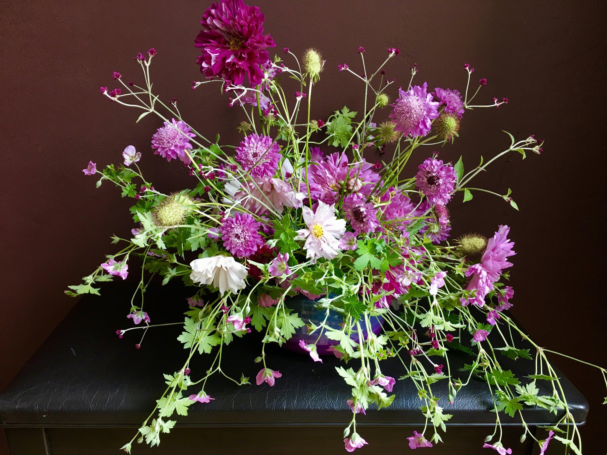 Cosmos, 'Mavis Simpson' geranium, scabiosa and gomphrena 'Airy Bachelor Buttons.'