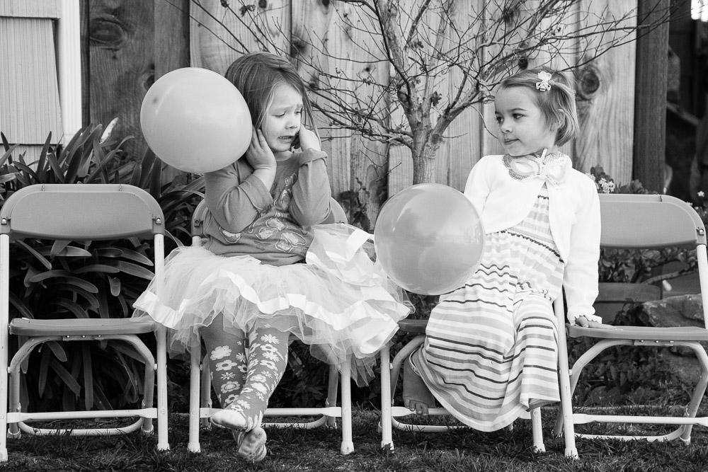 Birthday girl chatting with friend - Mountain View Family and Birthday Party Photography