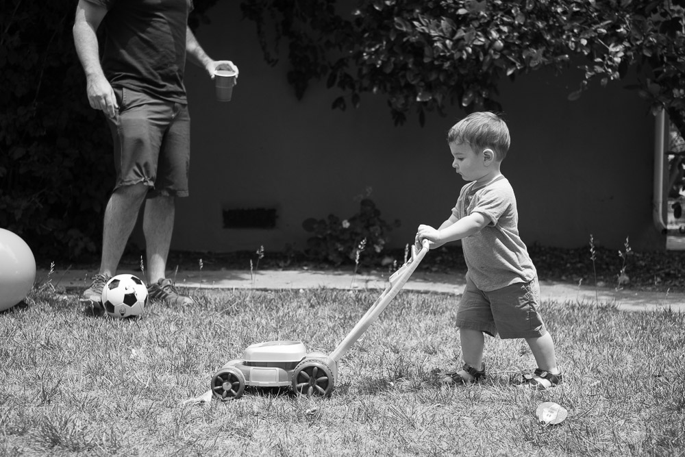 Boy pretend mowing lawn  - Mountain View Family and Birthday Party Photography