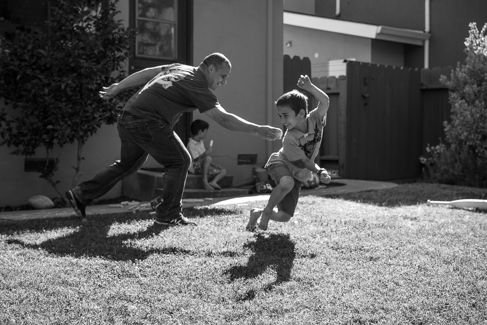 Dad and son playing baseball - Mountain View Family Photography
