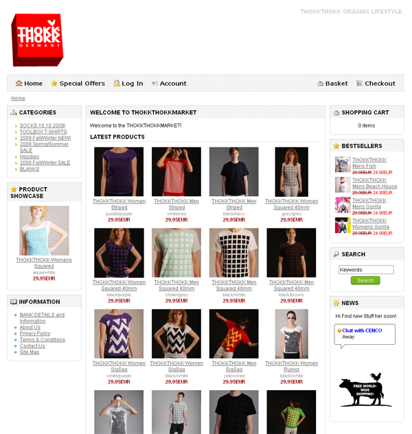 Category view of the webshop.