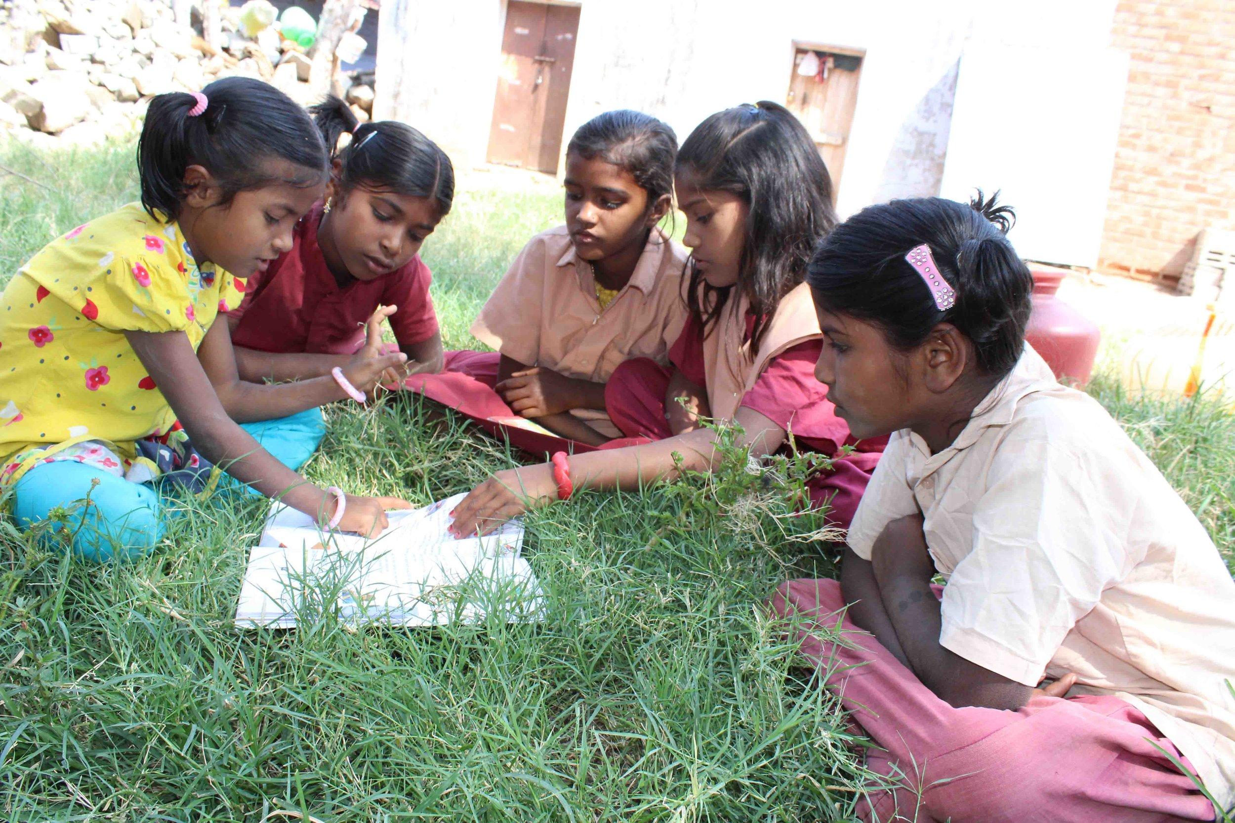 MSNAGAR Bridge school children at group study.jpg