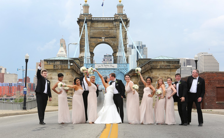 Summer wedding in Cincinnati at The Center with florals by Yellow Canary Floral and Event Design