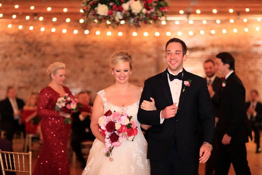 Blush and burgundy winter wedding at Cincinnati's Rhinegeist Brewery. Florals by Yellow Canary. www.yellowcanaryonline.com