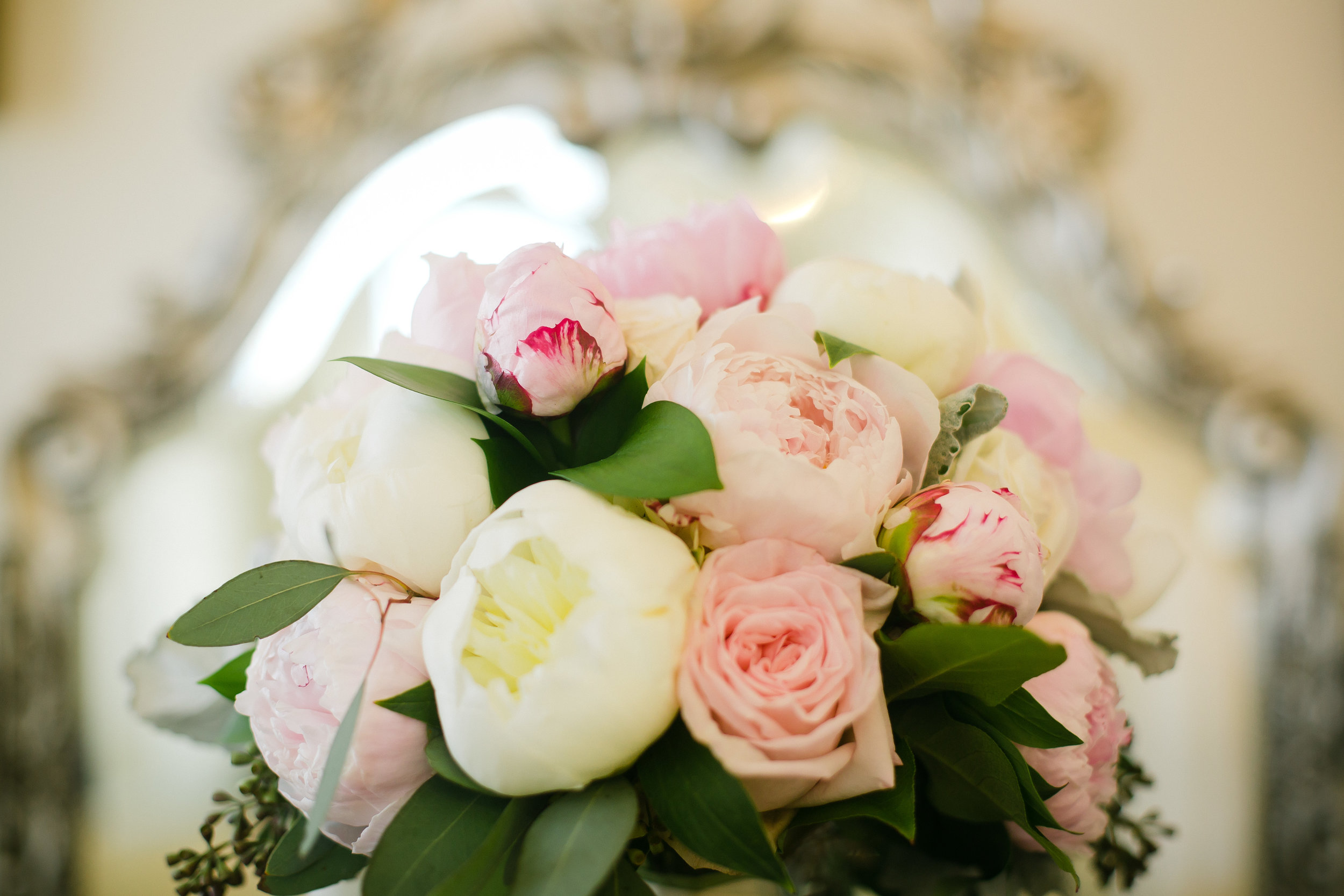 Bridal bouquet with pink and white roses and peonies for Monastery Event Center wedding in Cincinnati.  Florals by Yellow Canary www.yellowcanaryonline.com