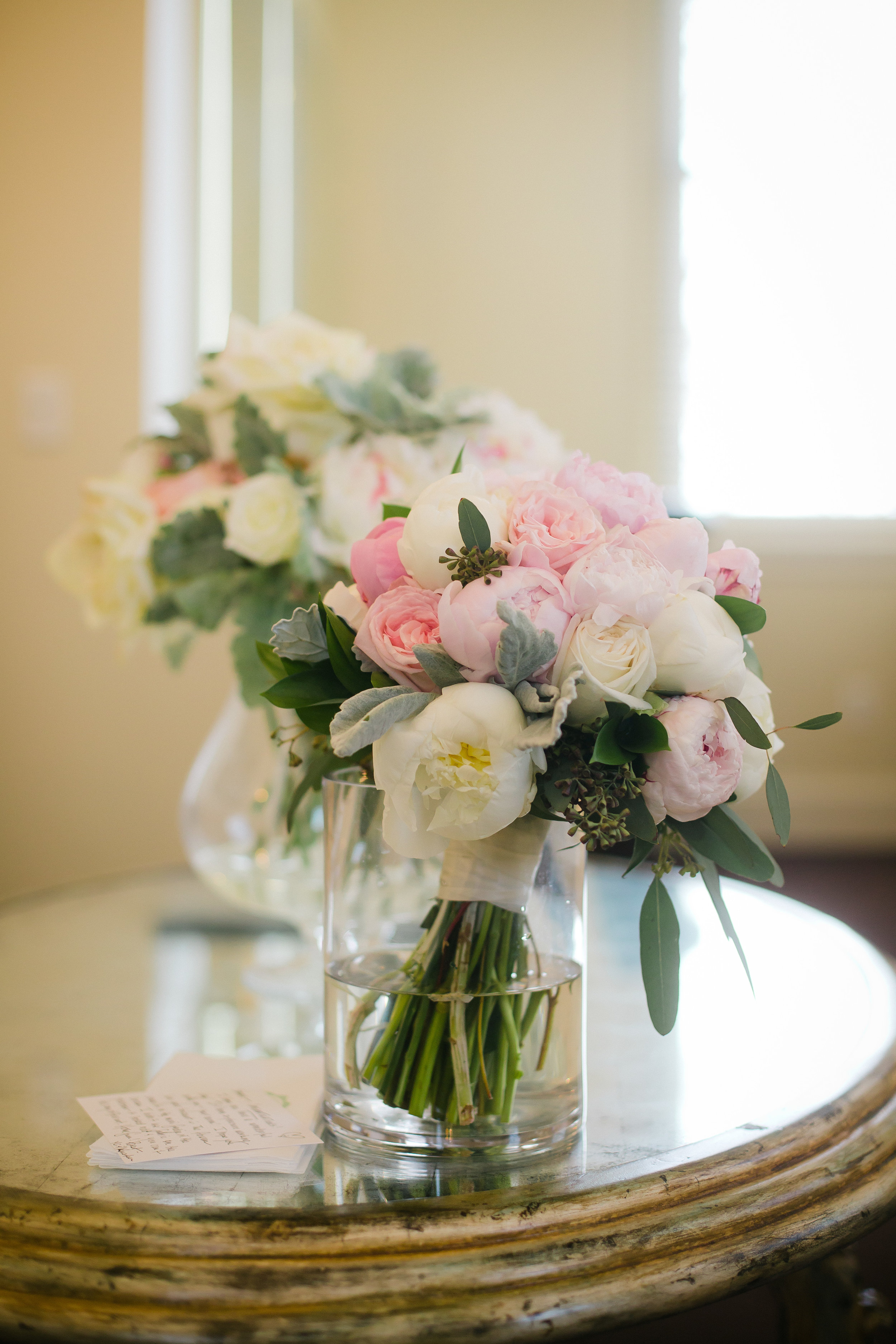 Bridal bouquet in pastels for Monastery Event Center wedding in Cincinnati.  Florals by Yellow Canary www.yellowcanaryonline.com