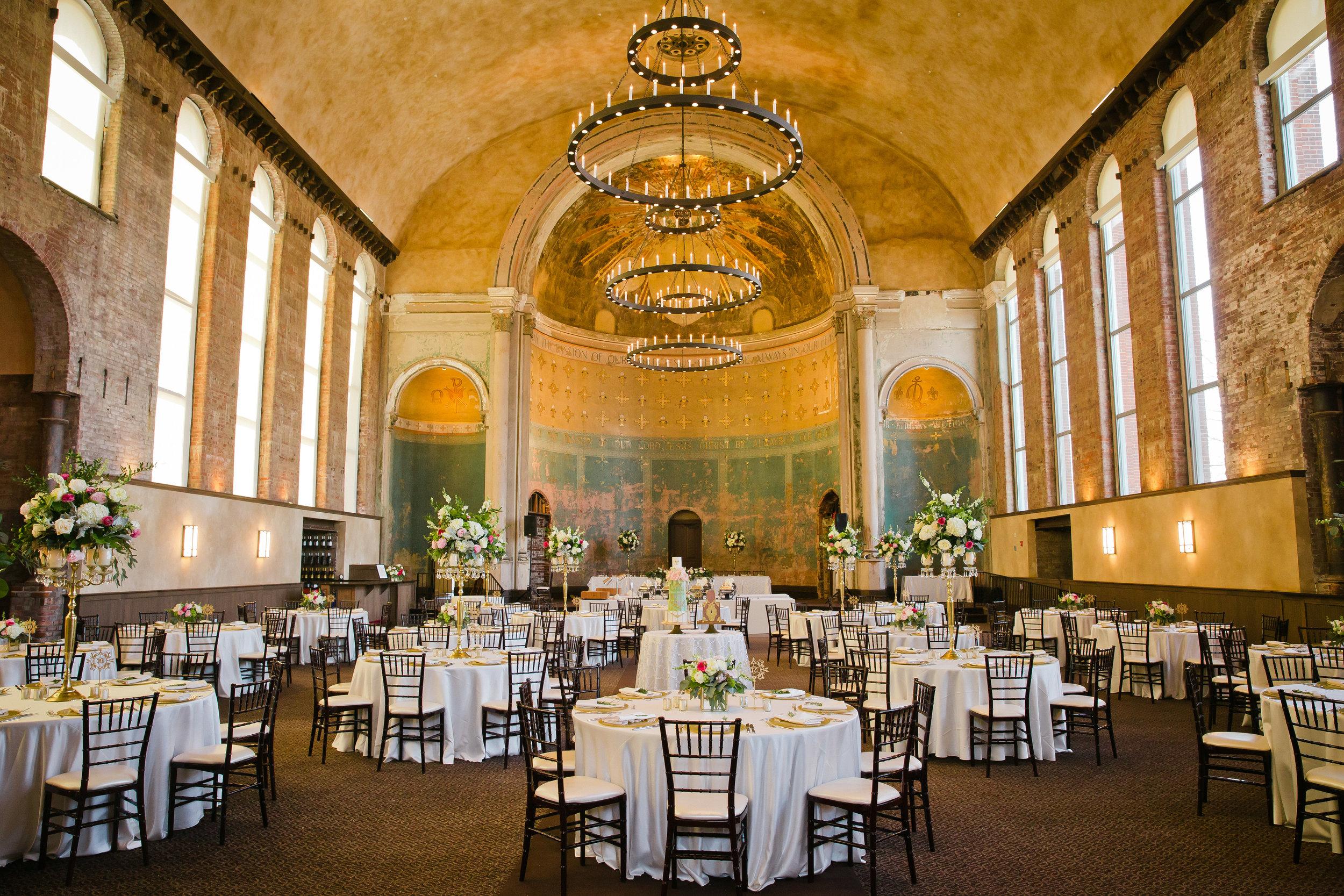 Monastery Event Center wedding in Cincinnati.  Florals by Yellow Canary www.yellowcanaryonline.com