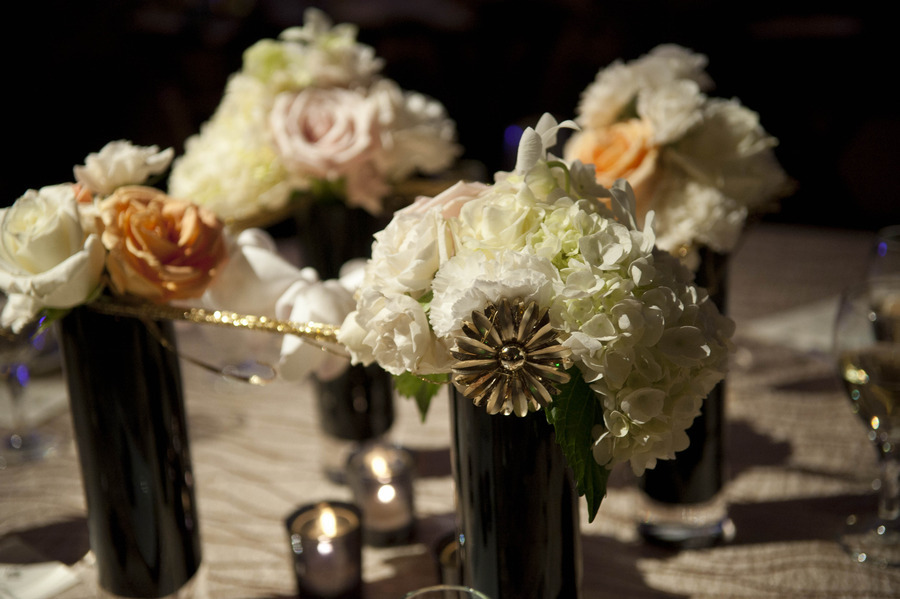Art Deco wedding at Cincinnati's Netherland Plaza. Florals by Yellow Canary