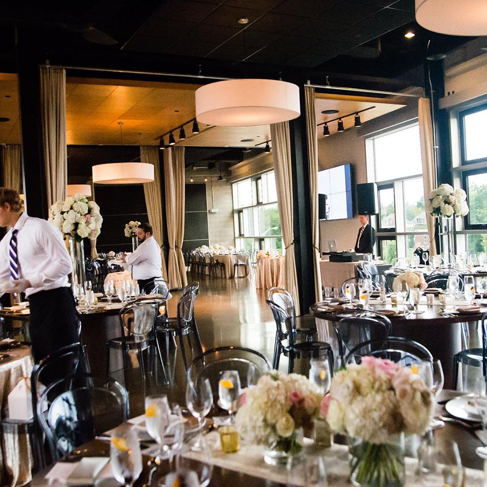 Urban wedding day celebration at New Riff Distillery with florals by Yellow Canary. Michael Bambino Photography