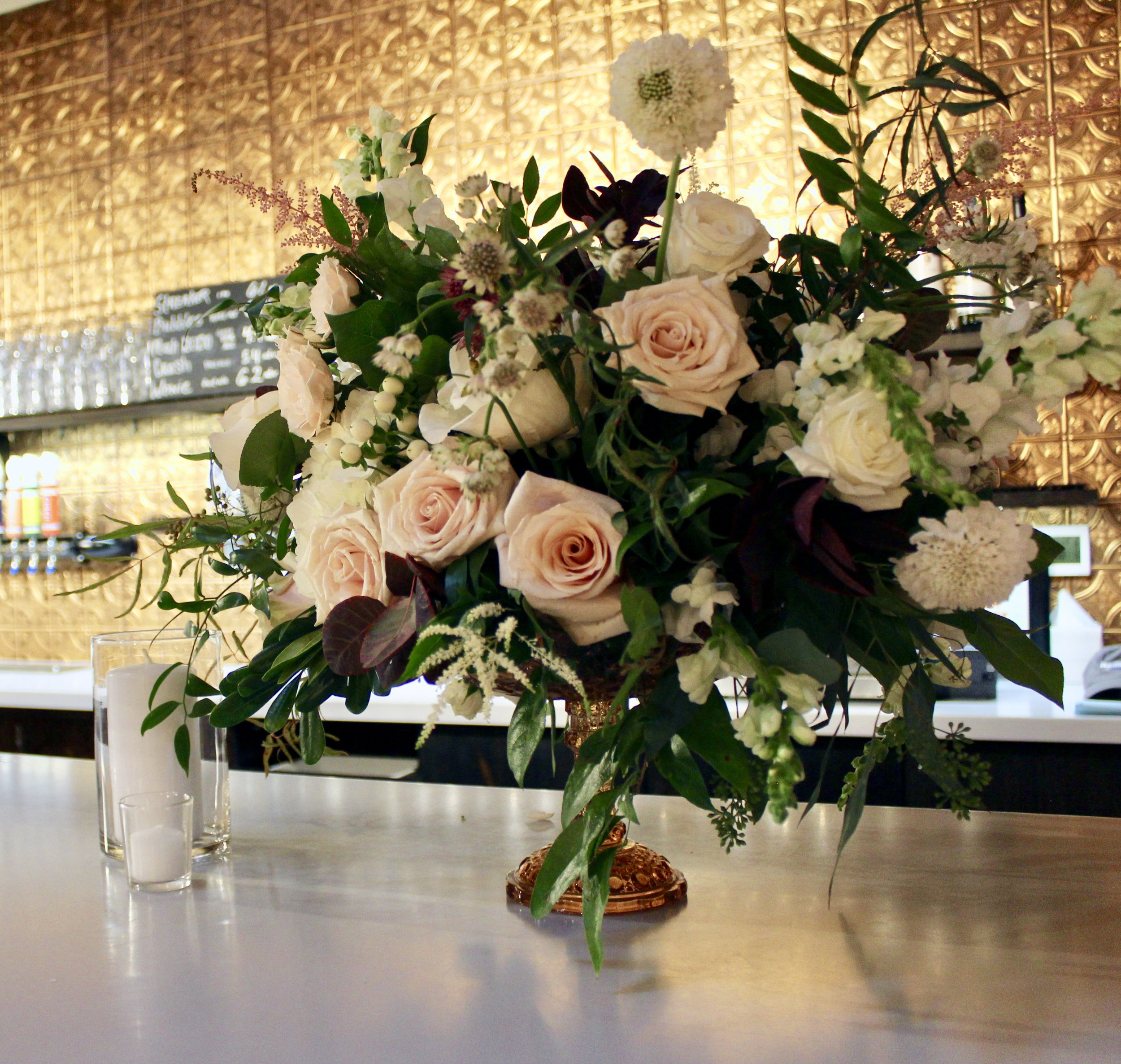 Romantic Rhinegeist Wedding Reception Florals by Yellow Canary