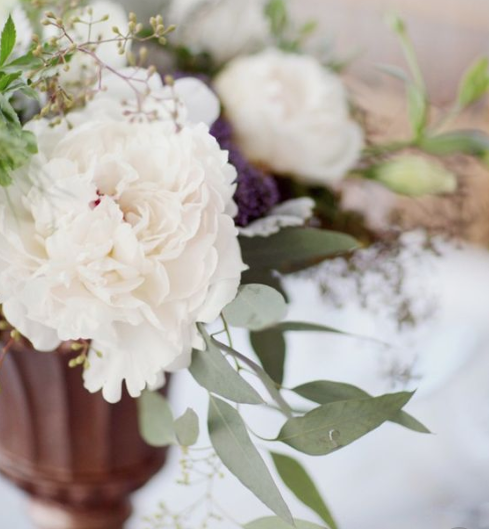 White florals and Mediterranean greenery