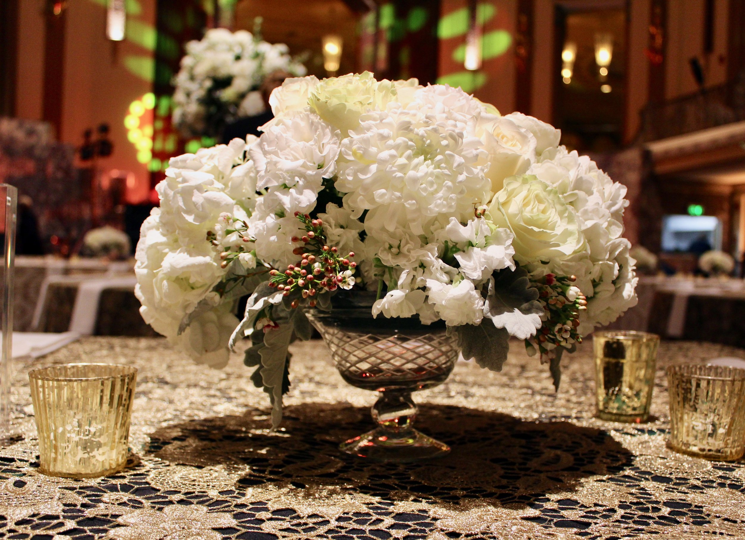 Florals for reception at Hall of Mirrors by Yellow Canary