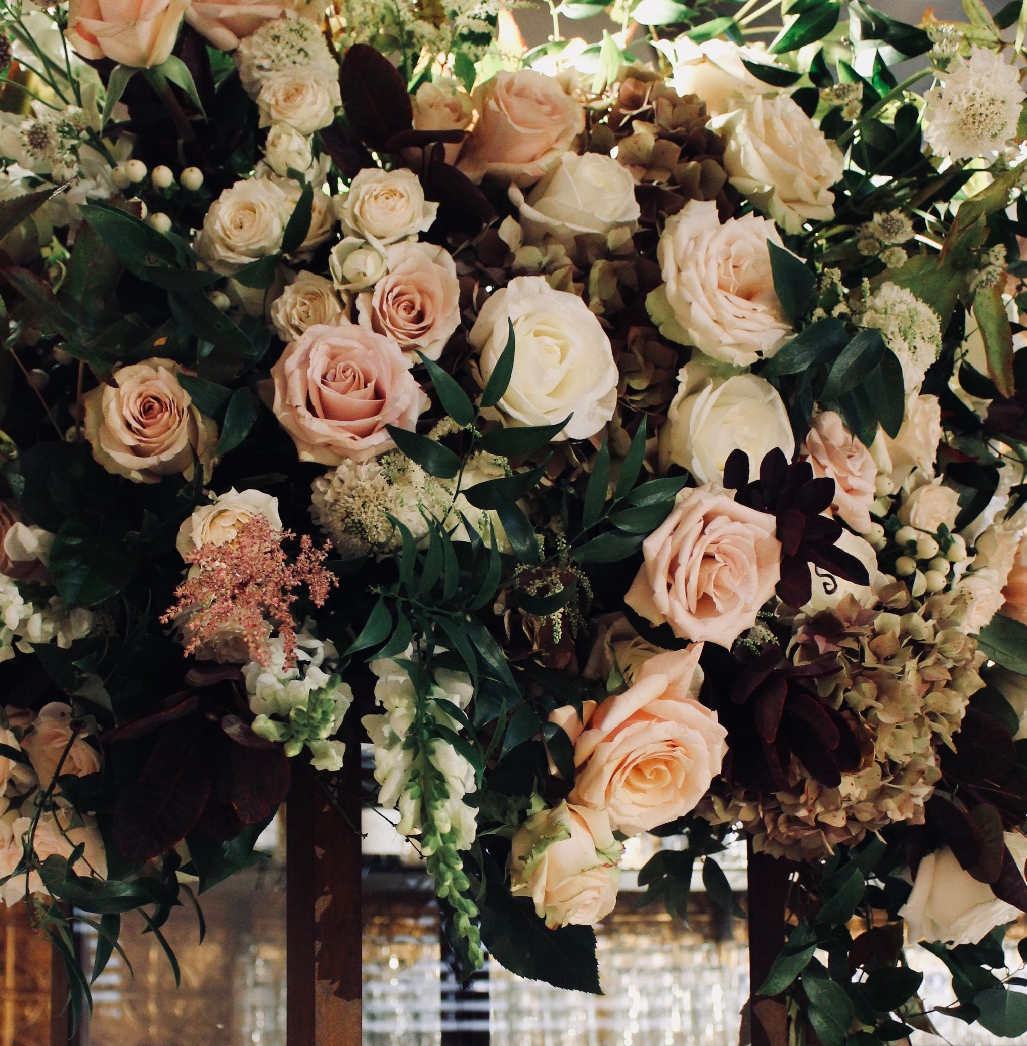 Winter reception florals for Rhinegeist wedding