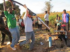 3 installing the solar powered pump in the borehole