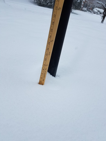 - I went out to measure the depth of the snow about 9 AM; it was about 5 inches and snow was still coming down.