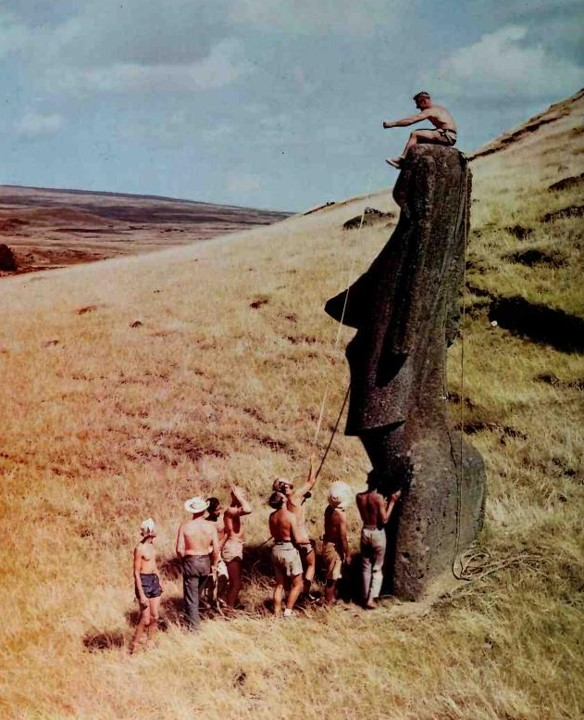 - Heyerdahl, Thor. The Art of Easter Island. New York: Doubleday & Company. 1975. Available from Internet Archive here. I remember when Heyerdahl was in the news about Easter Island…his investigation of how the stone heads were made and moved. I had never seen the book before, so it was a kind of closure. And about the same time, I was looking at this book, there was an item in my news feeds about Easter Island statues may have marked sources of fresh water.