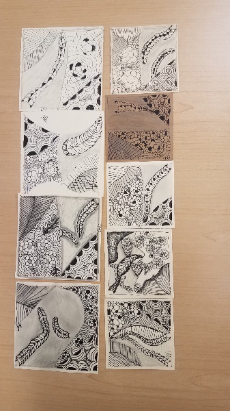 - 1st Zentangle® class is history – I celebrated leading my first Zentangle class…and the tiles created by the students.