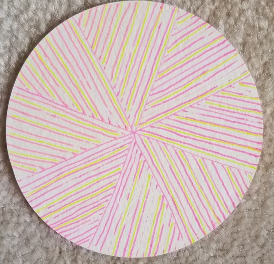 - The first tile I made using the idea was a round coaster….and some old gel pens. The pens skipped but I decided that the skips simply made the pattern look more unique – maybe like part of the lines had deteriorated with age or usage.