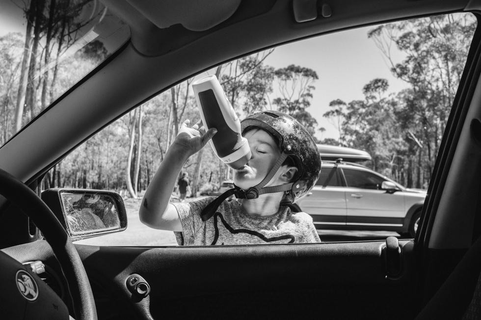 Lauren McAdam family photos Photographer geelong highton newtown belmont torquay car project boy drink bottle.jpg