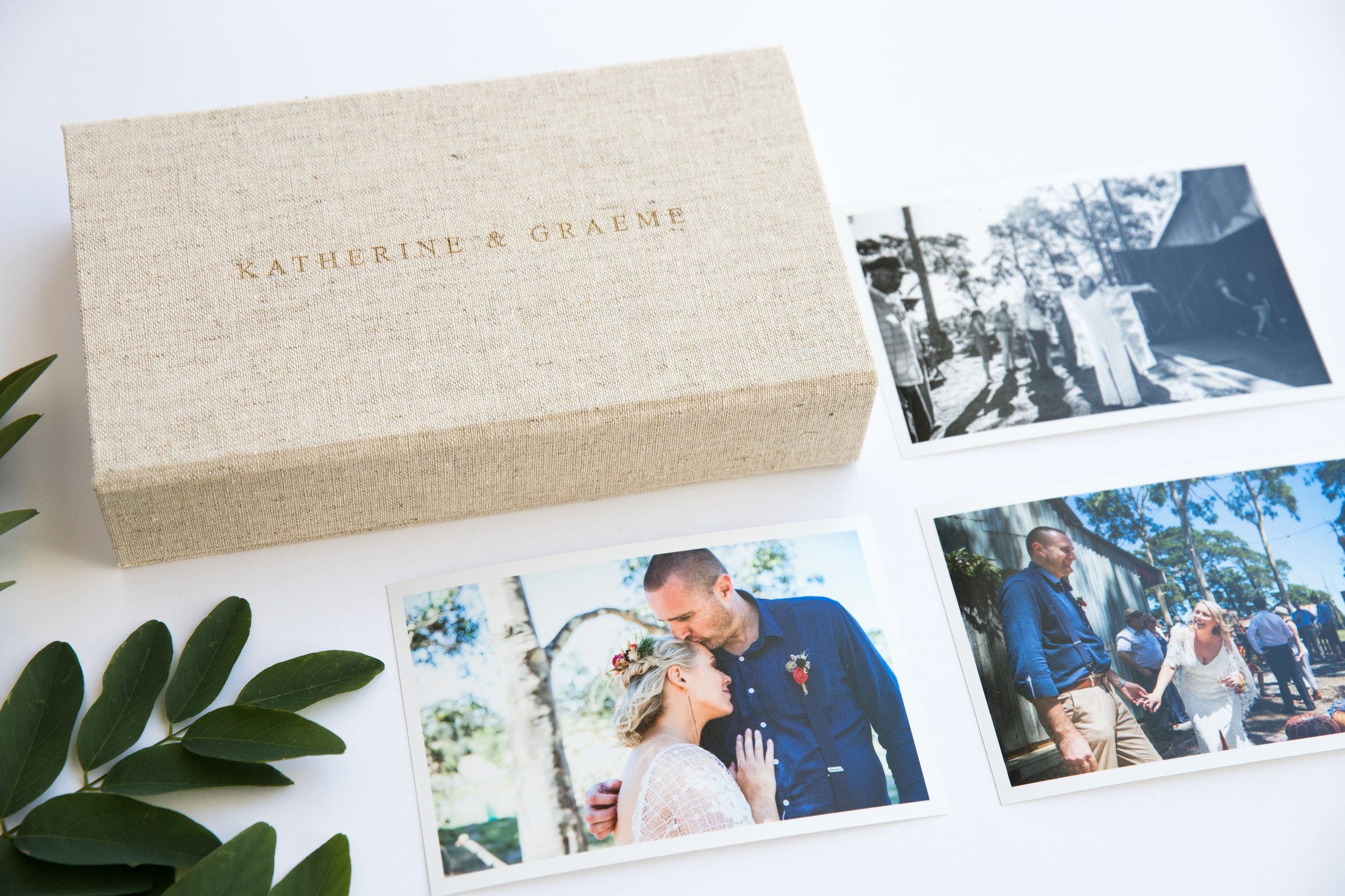 Linen memory boxes that holds prints and your USB