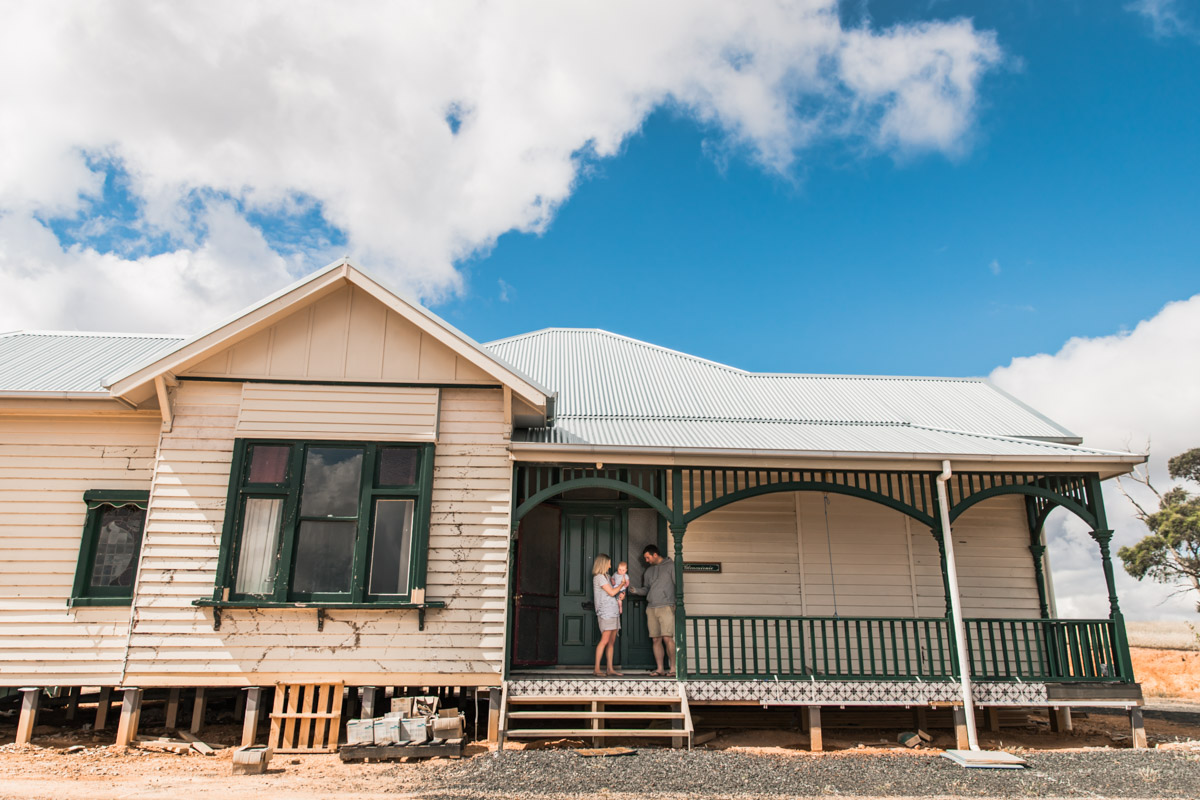 Family on the verandah of farm homestead Geelong newborn family belont Newtown Torquay Photographer