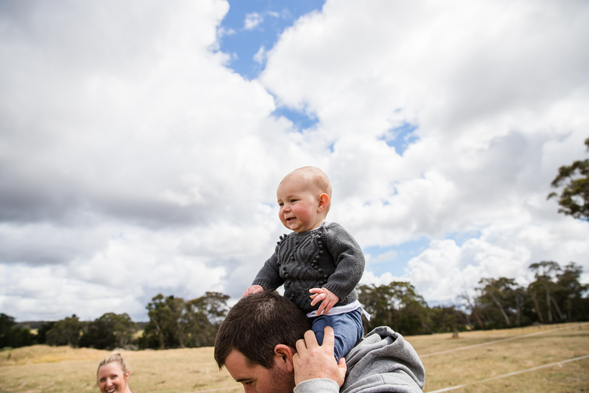 king of the castle baby on dad's shoulders Armstrong creek Geelong newtown photographer