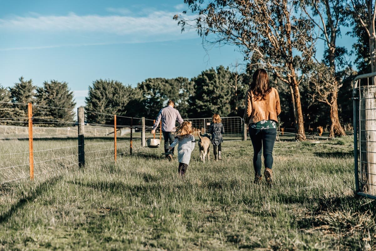 Family walking on their farm to feed cattle Lauren McAdam Photography Geelong torquay newtown armstrong creek moriac family photographer-6.jpg
