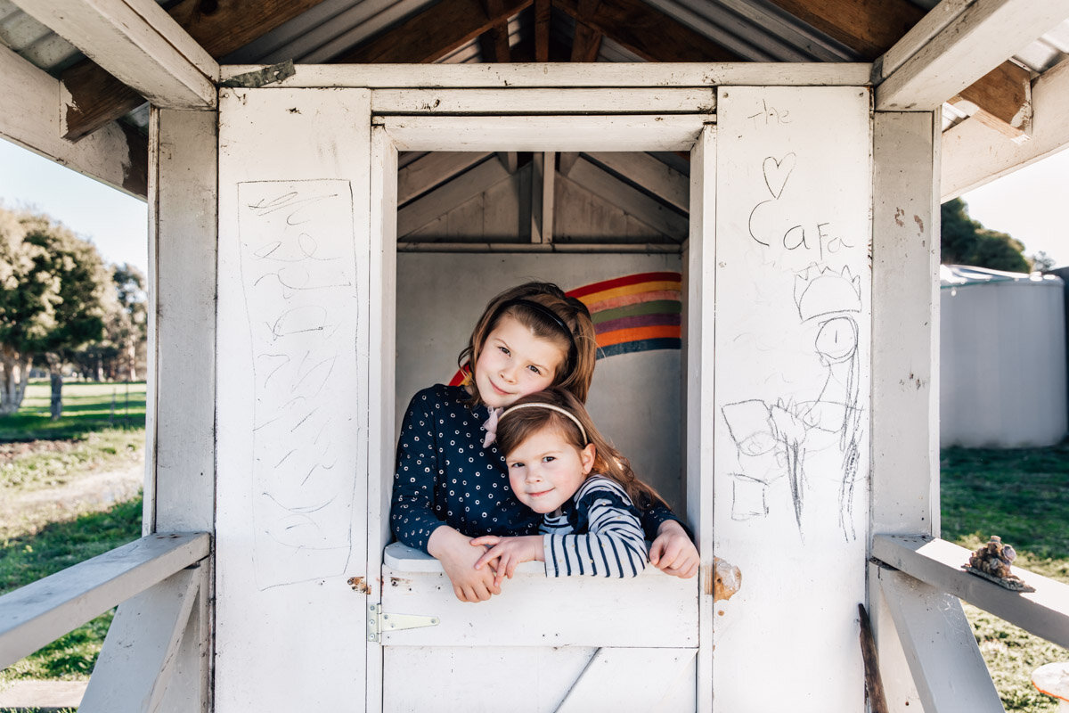 Sissters in their cubby Lauren McAdam Photography Geelong torquay newtown armstrong creek moriac family photographer-3.jpg