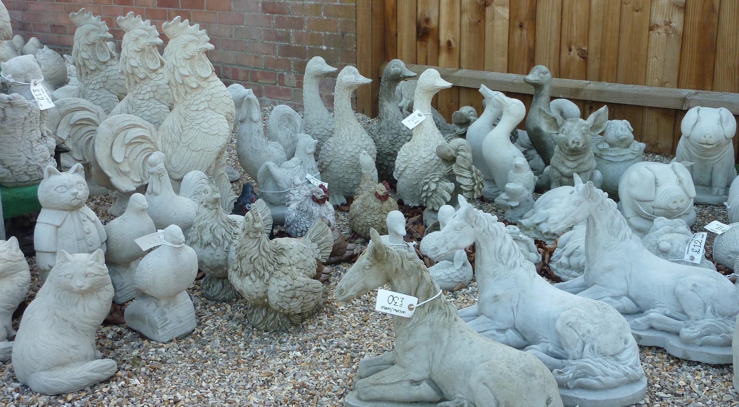 Cast In Stone garden ornaments Wendling Dereham animals horses birds