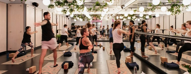 The yoga studio at Rise By We.Credit: Emily Andrews for The New York Times