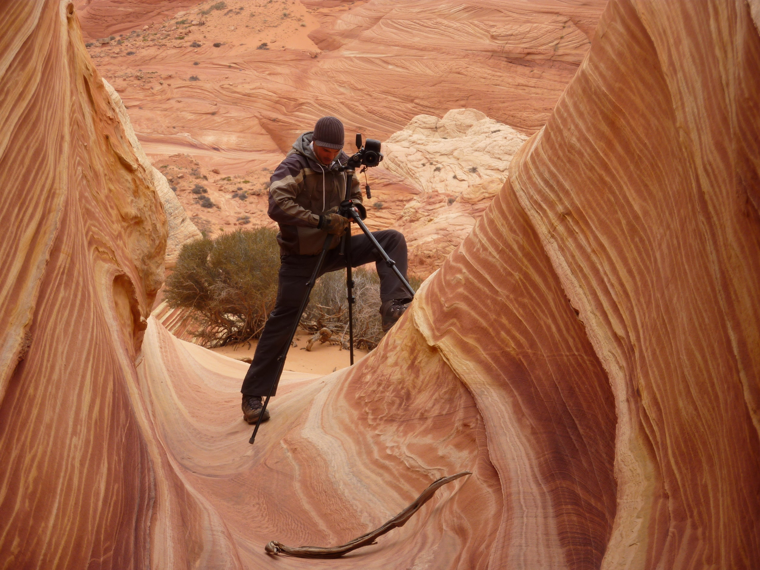 Battling with gear in the Coyotte Buttes Wilderness