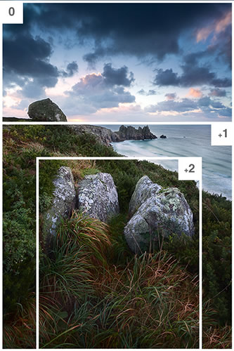 'Using 'bracketing' to define areas to selectively sharpen