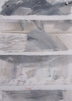 """""""Trade 1""""  One of my first encaustic prints (wax and paper), created at Paula Roland's studio in Santa Fe, NM."""