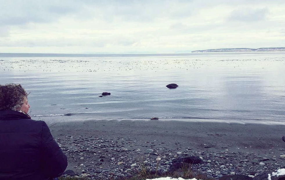 - Vicky at her favorite local spot…on the beach in Port Townsend, WA.