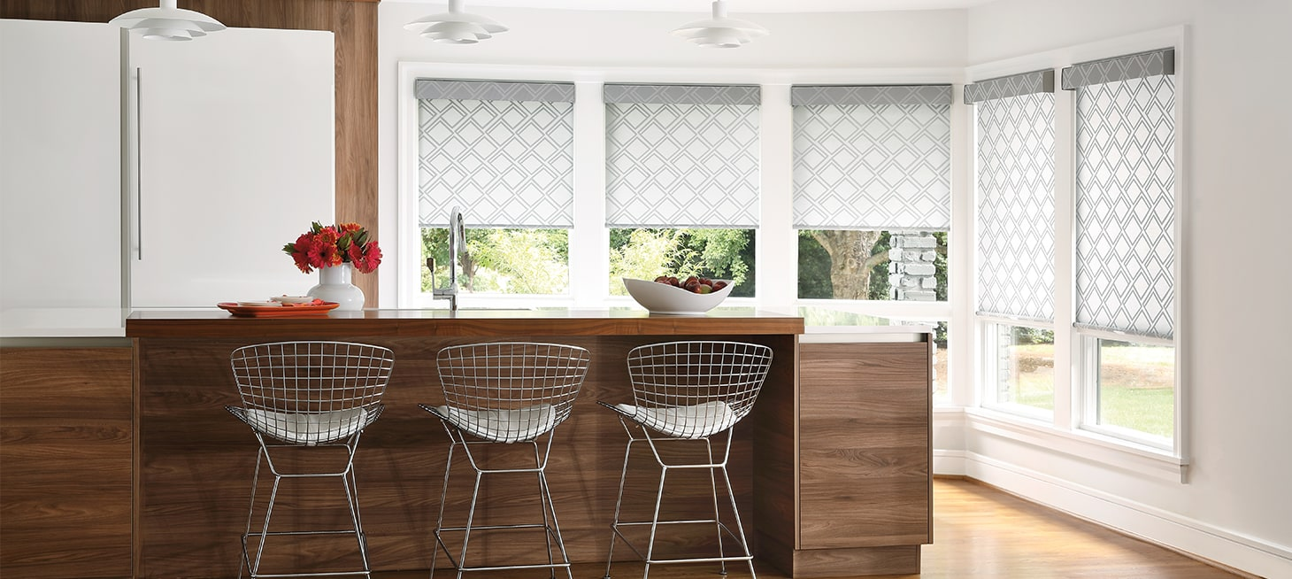 Why choose roller shades for your home? - A clean, contemporary look that works for any room. Roller shades offer ease and simplicity. Choose from an impressive range of sturdy and distinctively beautiful fabrics.